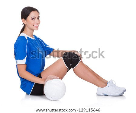 Portrait Of Happy Sporty Woman. Isolated On White - stock photo