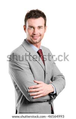 Portrait of happy stylish businessman smiling at camera isolated on white background - stock photo