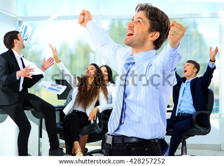 Portrait Of Happy Successful Business Group - stock photo