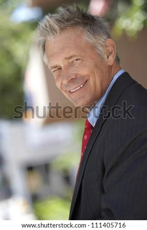 Portrait of happy successful businessman - stock photo