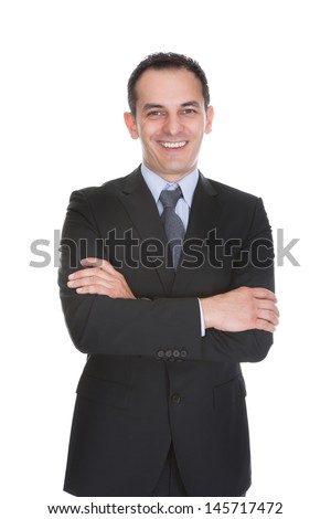 Portrait Of Happy Successful Businessman Isolated Over White Background - stock photo