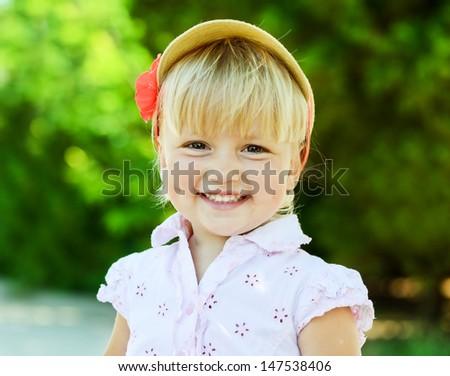 portrait of happy summer toddler girl - stock photo