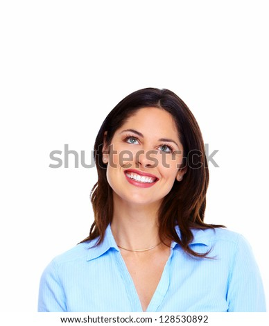 Portrait of happy thinking business woman isolated on white background