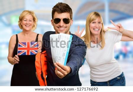 Portrait Of Happy Tourist Family, Indoor - stock photo