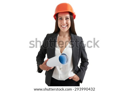 portrait of happy woman architect in orange hardhat holding plan and looking at camera. isolated on white background - stock photo