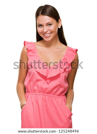Portrait Of Happy Woman In Pink Dress Isolated On White Background - stock photo