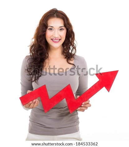 portrait of happy woman with red growth arrow