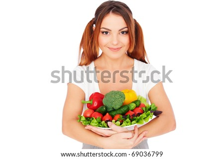 portrait of happy woman with vegetables. isolated on white