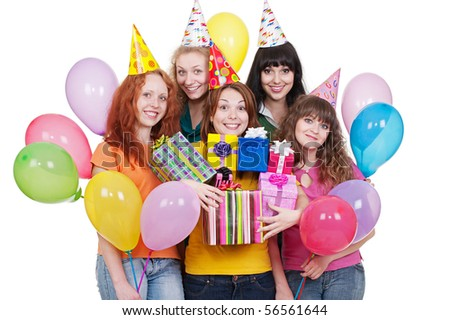 portrait of happy women with gifts and balloons. isolated on white background - stock photo