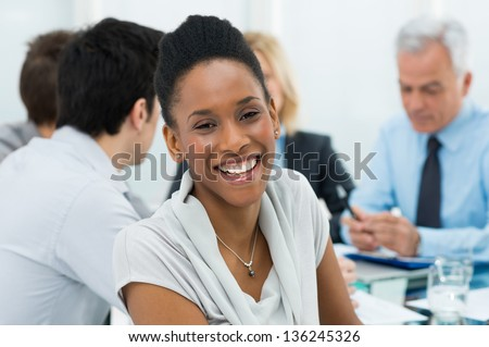 Portrait Of Happy Young African Businesswoman - stock photo