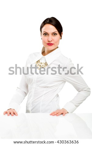 Portrait of happy young business woman - stock photo