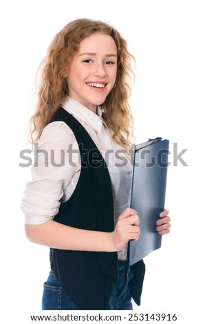 Portrait of happy young business woman. Cheerful secretary with folders. Isolated on white background. - stock photo