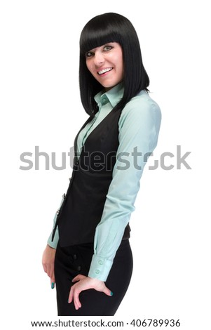 Portrait of happy young business woman isolated on white - stock photo