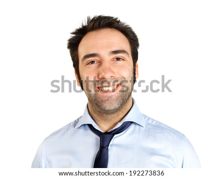 Portrait of happy young businessman on white background - stock photo