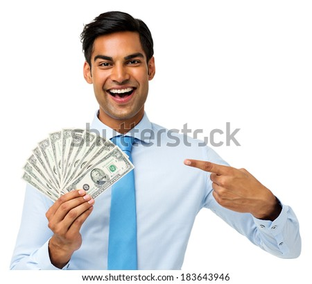 Portrait of happy young businessman showing fanned out fifty dollar notes over white background. Horizontal shot. - stock photo