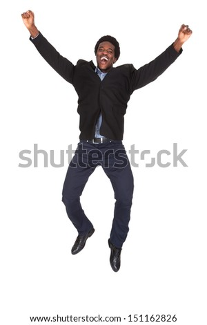 Portrait Of Happy Young Excited Businessman Over White Background - stock photo
