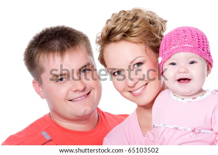 Portrait of happy young femile with beautiful baby on white background - stock photo