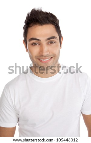 Portrait of happy young man isolated on white background. - stock photo