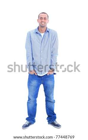 Portrait of happy young man, looking at camera, smiling. Isolated on white. - stock photo