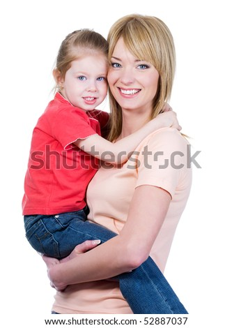 Portrait of happy young mother holding her little daughter - isolated on white