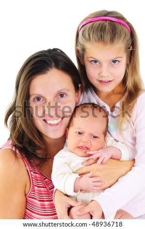 Portrait of happy young mother with her daughter and newborn son