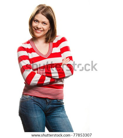 Portrait of happy young woman with folded hand . over white background .