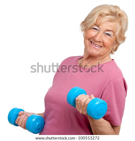 Portrait of healthy senior  woman working out with weights.Isolated on white. - stock photo