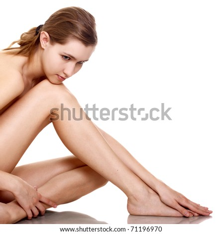 portrait of healthy smiling naked woman on white background - stock photo