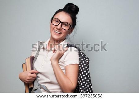 Portrait of high school student - stock photo