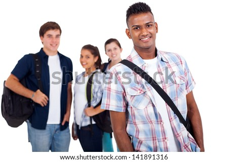 portrait of high school students isolated on white - stock photo