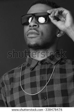 Portrait of hip hop African American dancer isolated background - stock photo