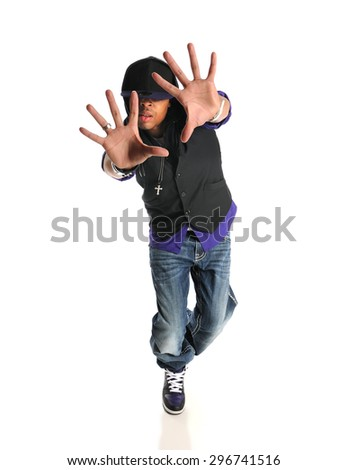 Portrait of hip hop African American dancer isolated over white background - stock photo