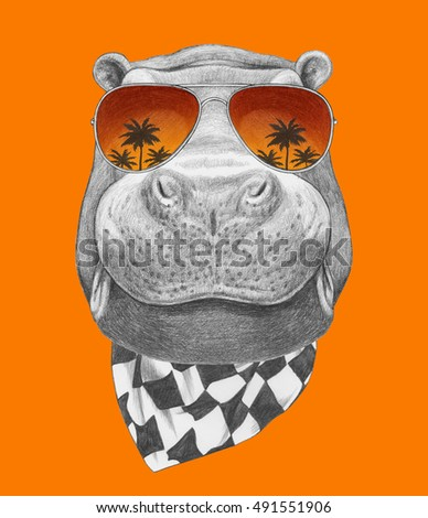 Portrait of Hippo with mirror sunglasses and scarf. Hand drawn illustration.