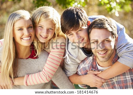Portrait Of Hispanic Family In Countryside - stock photo