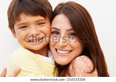 Portrait Of Hispanic Mother And Son