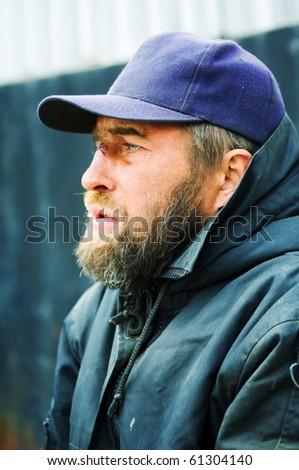 Portrait of homeless. - stock photo