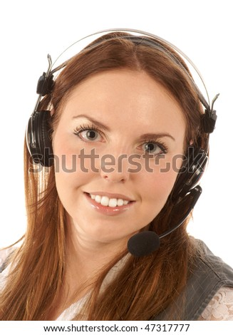 Portrait of hotline operator - stock photo