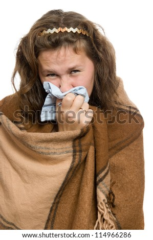 portrait of ill attractive woman with a cold over white - stock photo