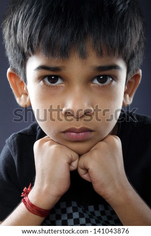Portrait of Indian Boy - stock photo