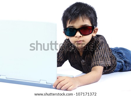 Portrait of Indian Boy with 3d Glasses - stock photo