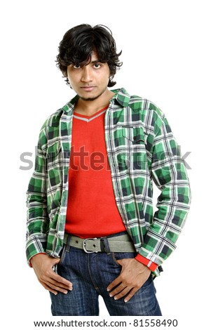 Portrait of Indian young man isolated on white.