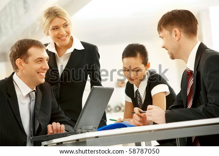Portrait of interacting businessteam thinking about new project at meeting - stock photo
