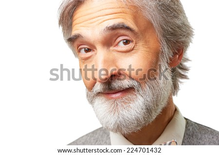Portrait of interested smiling caucasian aged man with a gray beard isolated on white background - stock photo