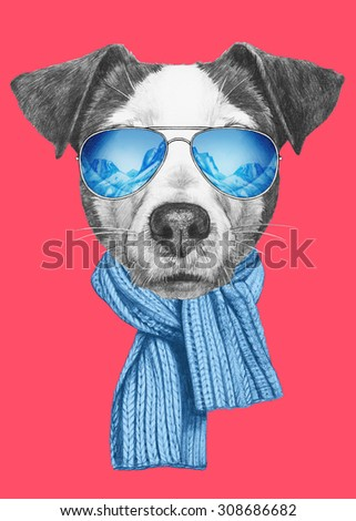 Portrait of Jack Russell Dog with scarf and sunglasses. Hand drawn illustration.