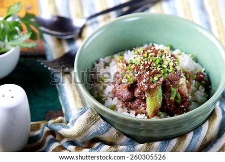 portrait of japanese rice bowl dish yakinikudon - stock photo