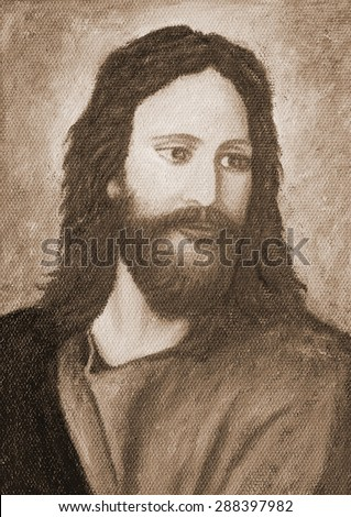 Portrait of Jesus Christ, original oil painting on canvas, Sepia color style - stock photo