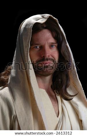 Portrait of Jesus_Close up with dark background - stock photo