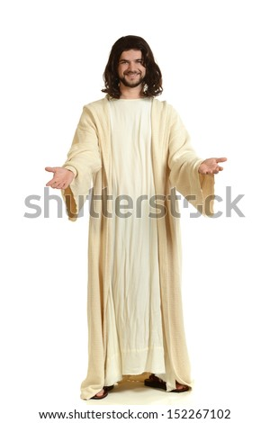 Portrait of Jesus with arms extended isolated on a white background - stock photo