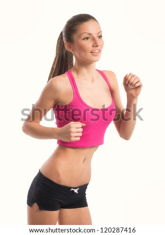Portrait of jogging girl, on white background