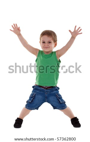 Portrait of joyful boy raising his arms over white - stock photo